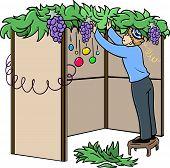 image of sukkoth  - A vector illustration of a Jewish guy standing on a stool and building a Sukkah for the Jewish holiday Sukkot - JPG