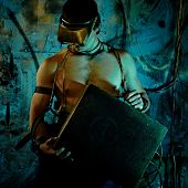 stock photo of cultural artifacts  - cyberpunk boy in uniform fashion fantasy style - JPG