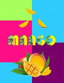 Mango In 80s Colourful Design. 3d Realistic Yellow, Red, Orange Ripe Mango Cubes And Leaves Isolated poster