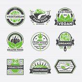 Vegetarian Food Vintage Isolated Label Set Vector Illustration. Vegan Health Food Symbol, Natural Fa poster