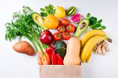 Healthy Food Background. Healthy Food In Paper Bag Fruits And Vegetables On White. Vegetarian Food.  poster