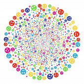 Multicolored Sad And Glad Smiley Burst Cluster. Vector Round Cluster Explosion Designed From Scatter poster