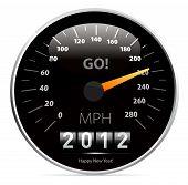 Постер, плакат: 2012 год календарь спидометр автомобиль