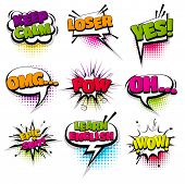 Omg Loser Keep Calm Oh Set Hand Drawn Pictures Effects Template Comics Speech Bubble Halftone Dot Ba poster