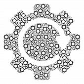 Gear Rotation Direction Collage Of Tooth Gears. Vector Gear Wheel Elements Are United Into Gear Rota poster