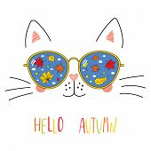 Hand Drawn Portrait Of A Cute Cartoon Funny Cat In Sunglasses With Falling Leaves Reflection, Text H poster