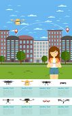 Drone Aircraft Website Template With Girl Operating Flying Robot In Park Illustration. Remotely Cont poster