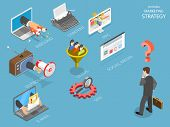 Choosing Marking Strategy Flat Isometric Vector. Business Man Is Thinking What Strategy Is The Best  poster