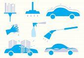 Car Wash. Colorful Icon Wash Car. Clean Car, Car Polish, Car Wash Bubbles, Car Wax. Car Wash Element poster