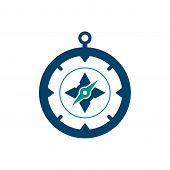 Compass Circle Icon With Long Shadow. Flat Design Style. Compass Simple Silhouette. Modern Minimalis poster