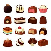 Chocolate Sweets With Different Fillings. Vector Illustrations In Cartoon Style. Chocolate Food Swee poster