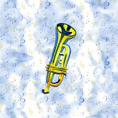 Watercolor Copper Brass Band Trumpet On Blue Background poster