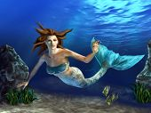 Beautiful mermaid swimming in a blue sea, surrounded by rocks, plants and fishes. Digital illustrati