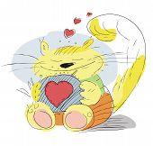 Постер, плакат: Влюблённые кошка