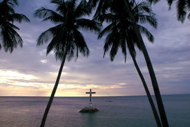 picture of camiguin  - Tropical Sunset With Cross Silhouette.