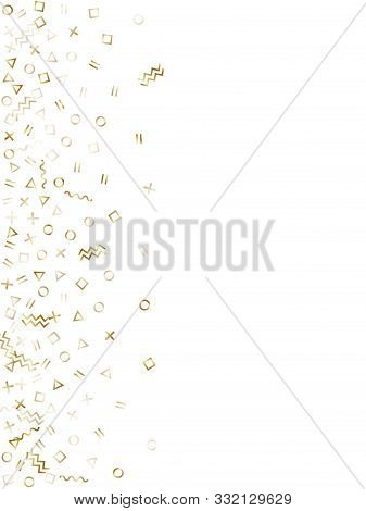 poster of Memphis Style Gold Geometric Confetti Vector Background With Triangle, Circle, Square Shapes, Chevro