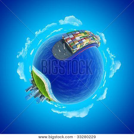 Постер, плакат: Мини планеты концепции Впечатляющие большой грузовой корабль отправиться в порт округления земного шара Ост, холст на подрамнике