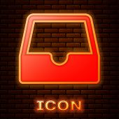 Glowing Neon Social Media Inbox Icon Isolated On Brick Wall Background. Social Network Element, Symb poster