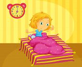 Illustration of cute girl waking - EPS VECTOR format also available in my portfolio.