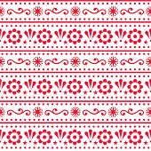 Scandinavian Style Folk Art Seamless Vector Pattern, Repetitive Floral Cute Nordic Design In Red On  poster