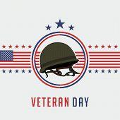 Icon Logo For Happy Veterans Day On November 11th With Veterans Helmet Vector Design poster