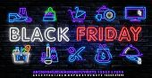 Black Friday Neon Label. Set Of Isolated Neon Sign For Black Friday. poster