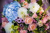 Beautiful Bouquet Of Bride Wedding Flowers Blue Hydrangea, Fresh Pink Roses And Alstroemeria, Bridal poster