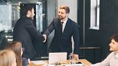 Boss Shaking Hands With Business Partner, Finishing Up Meeting In Office, Free Space poster