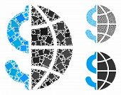 Global Business Mosaic Of Bumpy Parts In Variable Sizes And Color Hues, Based On Global Business Ico poster