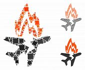Airplane Burn Mosaic Of Rugged Parts In Different Sizes And Color Tones, Based On Airplane Burn Icon poster