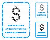 Invoice Mosaic Of Ragged Elements In Various Sizes And Color Hues, Based On Invoice Icon. Vector Rag poster