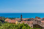 Menton France. 17 June 2019. An Elevated View Over The Old Town In Menton In France poster