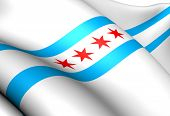 Flag Of Chicago, Usa.