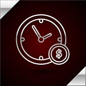 Silver Line Time Is Money Icon Isolated On Dark Red Background. Money Is Time. Effective Time Manage poster
