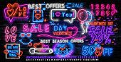 Valentines Day Is A Proposal, A Collection Of Neon-style Banner Templates. Set Neon Signs, Posters F poster