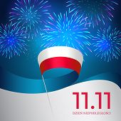 Banner November 11, Poland Independence Day, Vector Template Of The Polish Flag. Blue Background Wit poster