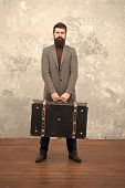 Fashion Trend. Accessories For Vacation. Best Travel Bags For Men. Guy Well Groomed Elegant Bearded  poster