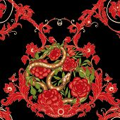 Roses Ands Snake. Seamless Pattern, Background. Graphic Drawing, Engraving Style. Vector Illustratio poster