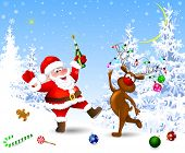 Santa And Deer In The Winter Forest. Santa With A Bottle. Santa And Deer Celebrate Christmas. Christ poster