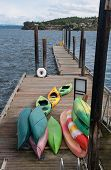 Colorful Kayaks On Dock Taken In Coupeville Washington In The Pacific Northwest Landscape.  Puget So poster
