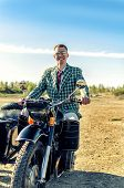 pic of sidecar  - Classy guy on a motorcycle with a sidecar - JPG