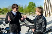 image of thug  - Conversation between two thugs in an abandoned construction site - JPG