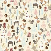 Christmas Seamless Pattern. Forest Deer, Fox, Hedgehog, Squirrel, And Spruce Trees. Season Greeting. poster
