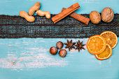 Flatlay, Winter Spices For Mulled Wine Or Gingerbread On Blue Shabby Chic Table, Copyspace poster