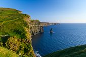 stock photo of cliffs moher  - Cliffs of Moher in Co - JPG