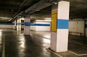 Car Parking Bar In The Area In Department Store. Parking Lot, Underground Garage Of Shopping Center. poster