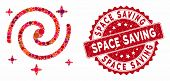 Mosaic Galaxy Stars And Corroded Stamp Seal With Space Saving Caption. Mosaic Vector Is Created With poster