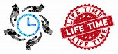 Mosaic Time Care And Distressed Stamp Seal With Life Time Caption. Mosaic Vector Is Composed With Ti poster