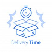 Delivery Time, Linear Design, Fast Shipment, Stopwatch And Open Box, Postal Parcel Waiting Period, T poster