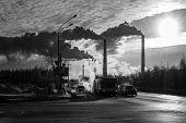Power Plant Smokestacks Emitting Smoke Over Urban Cityscape. Road Retro Style Urban City. Ecology poster